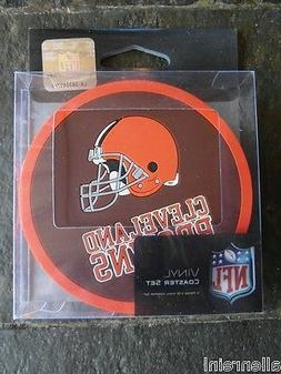 1 - 4 Pack Vinyl Drink Coasters - Cleveland Browns - Box
