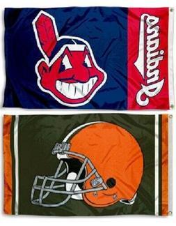 1 Cleveland Browns NFL & 1 Cleveland Indians MLB 3x5 Sports