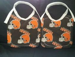 2 NEW HANDMADE LARGE COTTON CLEVELAND BROWNS BABY/TODDLER BI
