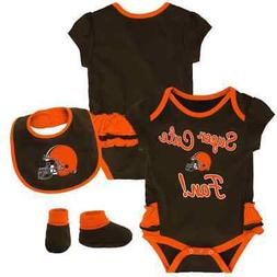 $30) Cleveland Browns nfl INFANT BABY NEWBORN Jersey Booties