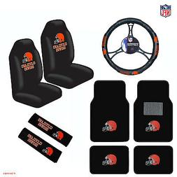 9pcs Set NFL Cleveland Browns Seat Covers Floor Mats Steerin