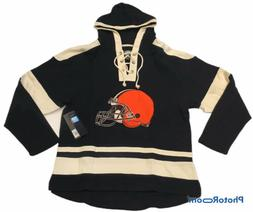 NFL OTS Brand Cleveland Browns Mens Lace Up Pullover Hooded