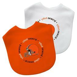 Cleveland Browns 2 Pack Orange Baby Bibs, Licensed NFL Bib