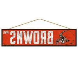 "Cleveland Browns 4""x17"" Wood Sign Avenue Design  NFL Wall Ba"