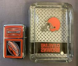 CLEVELAND BROWNS ASHTRAY AND LIGHTER GIFT SET FOOTBALL