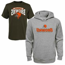 NFL Team Apparel Cleveland Browns Boys Tee & Hoodie Set Size