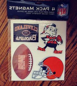 Cleveland Browns CAR / FRIDGE MAGNET SET of 4