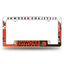 Cleveland Browns Chrome License Plate Frame All Over Tag Cov