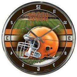 Cleveland Browns Chrome Round Wall Clock  NFL Sign Banner Of