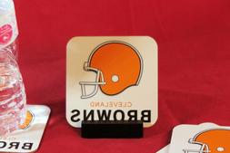 Cleveland Browns Coasters_Metal _. Set of 4 with Mahogany St