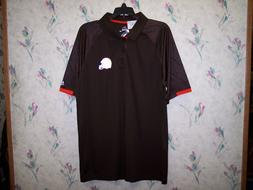 CLEVELAND BROWNS MAJESTIC COOL BASE  TEAM APPAREL MENS POLO