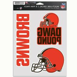 CLEVELAND BROWNS DAWG POUND 3-MULTI USE DECALS FAN PACK WINC