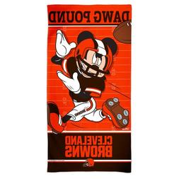 """CLEVELAND BROWNS DAWG POUND MICKEY MOUSE 30""""X60"""" SPECTRA BEA"""