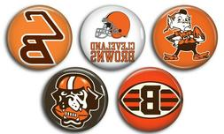 Cleveland Browns five 1 inch button sport pin badge football