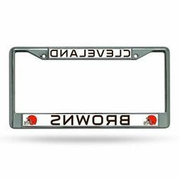 Cleveland Browns License Plate Frame Chrome Black Lettering