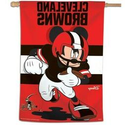 """CLEVELAND BROWNS MICKEY MOUSE DISNEY 28""""X40"""" HOUSE FLAG OR W"""