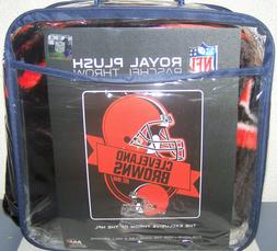"Cleveland Browns NFL 50"" x 60"" Royal Plush Raschel Throw Bla"