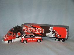 Cleveland Browns NFL diecast semi truck hauler and car