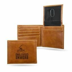 Cleveland Browns NFL Laser Engraved Brown Billfold Wallet