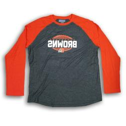 Cleveland Browns NFL Men's Heather Gray/Orange Long Sleeve T
