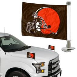 Cleveland Browns Set of 2 Ambassador Style Car Flags - Trunk