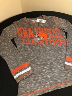 Cleveland Browns Shirt Womens Medium Long Sleeve NFL Distres