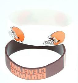 Cleveland Browns Silicone Bracelets 2 Pack Wide  NFL Jewelry