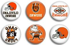 Cleveland Browns six 1 inch button sport pin badge football