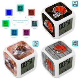 Cleveland Browns Sport Alarm Digital Clock LED Light Night G