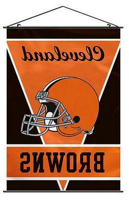 """CLEVELAND BROWNS WALL BANNER FLAG 28""""X40"""" INDOOR 2 RODS & ST"""