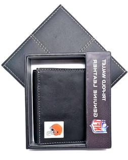 Cleveland Browns Wallet Leather Trifold w/ Gift Case NFL Foo