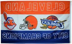 Cleveland Cavaliers Browns Indians Flag Champions Sports 3x5