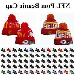 Embroidered NFL Football Teams Logo Cuffed Beanie Cap Pom Sk