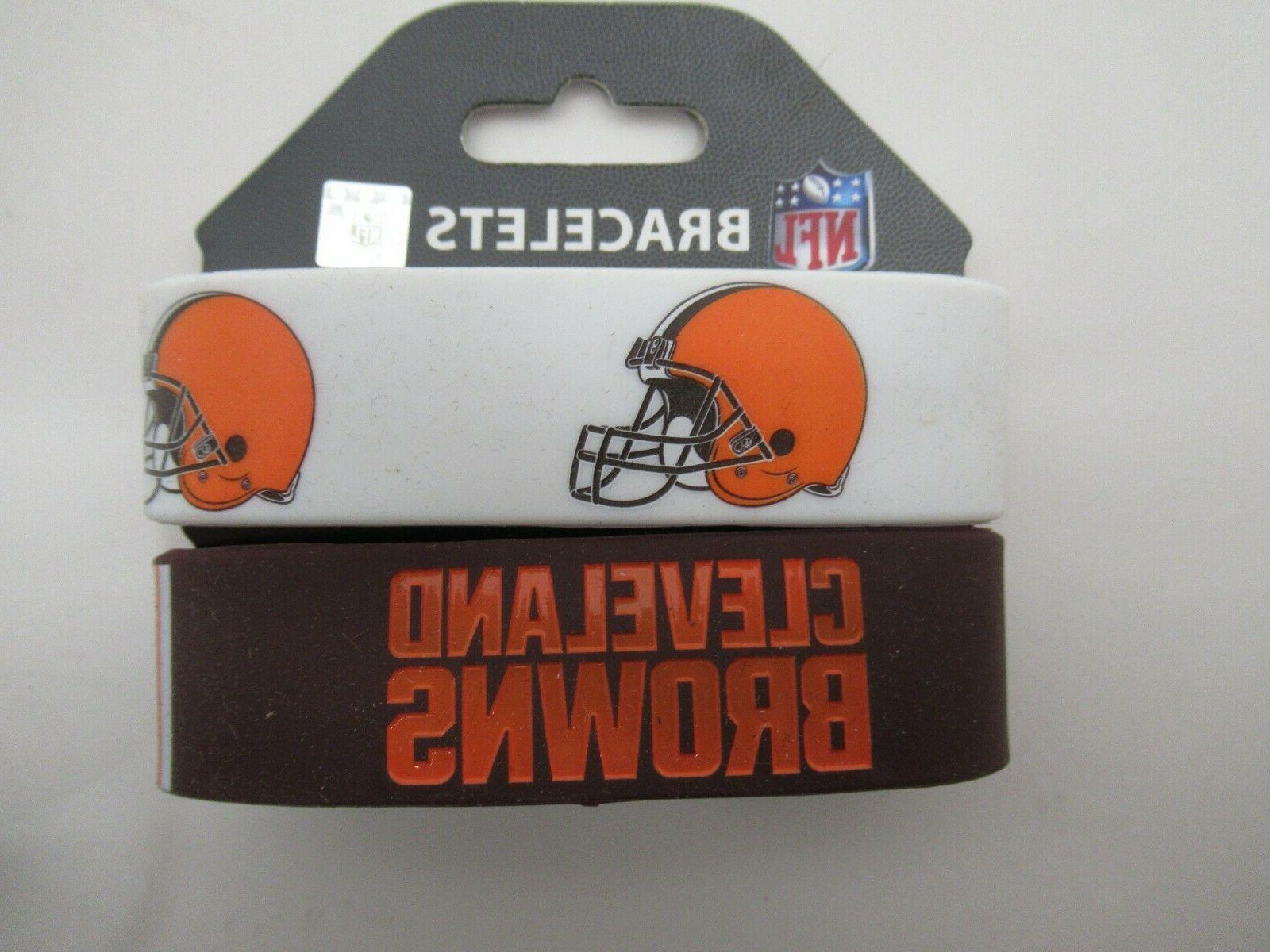 cleveland browns bracelets 2 pack wide