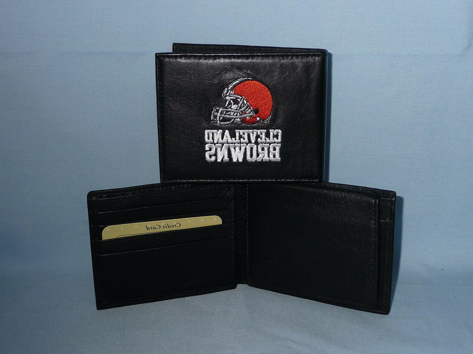 cleveland browns embroidered leather bifold wallet new