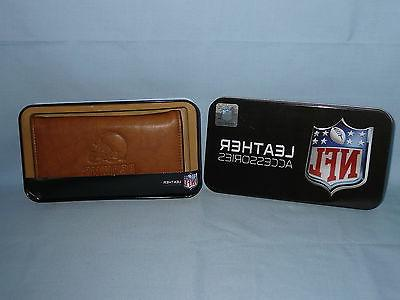 cleveland browns leather checkbook new in tin