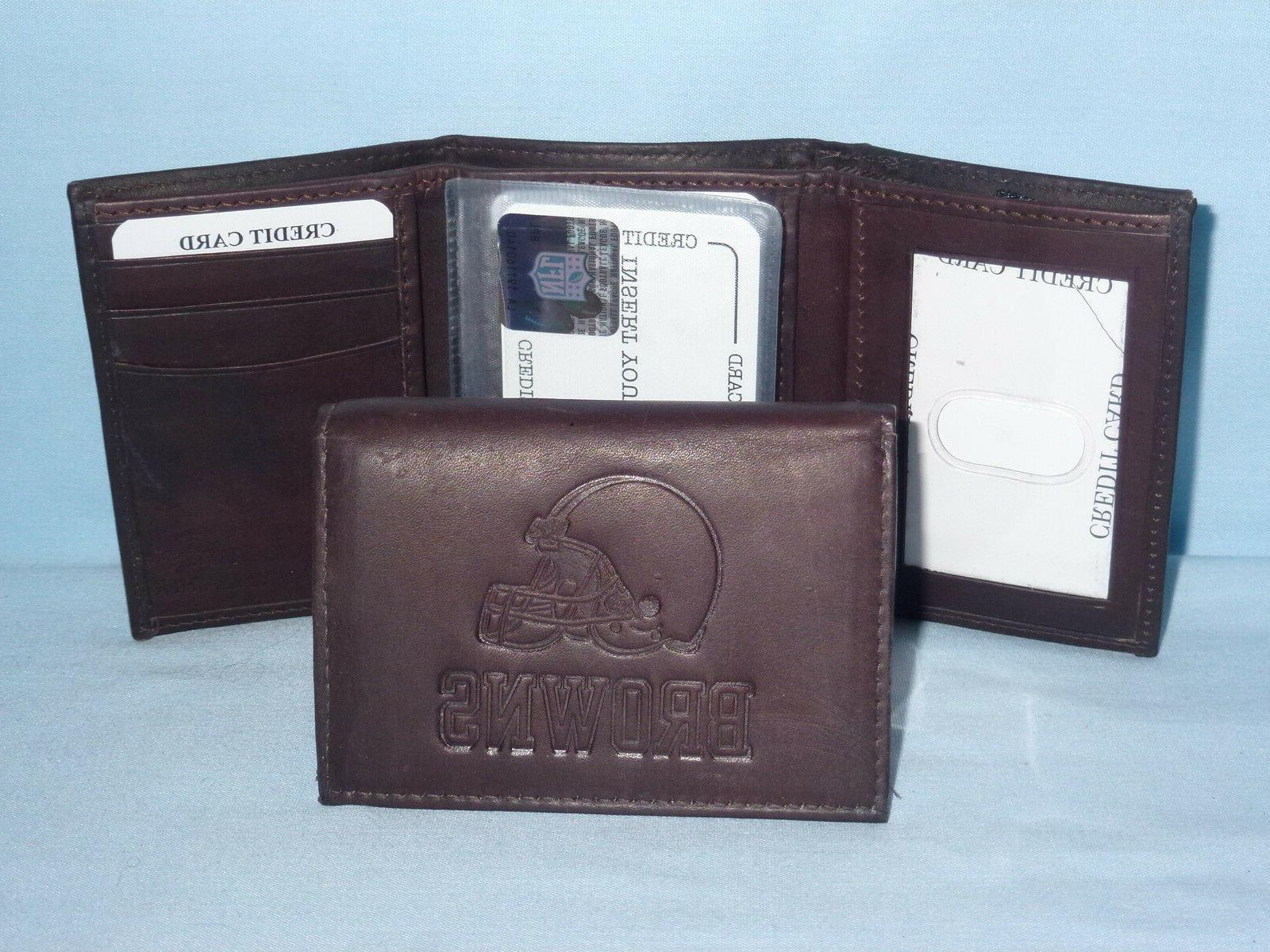 cleveland browns leather trifold wallet new dark