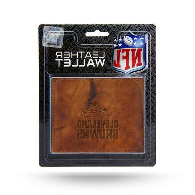 cleveland browns nfl embossed brown leather billfold