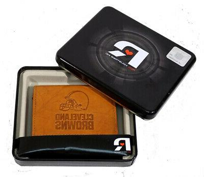 cleveland browns nfl embossed leather trifold wallet