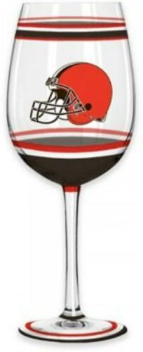 Cleveland Browns NFL Wine Glass Brush Painted Gameday Party