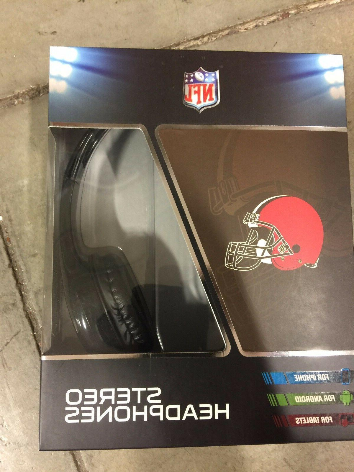 cleveland browns stereo headphones over the ear