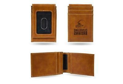 cleveland browns wallet laser engraved minimal front