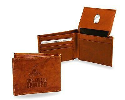 cleveland browns wallet premium brown leather billfold