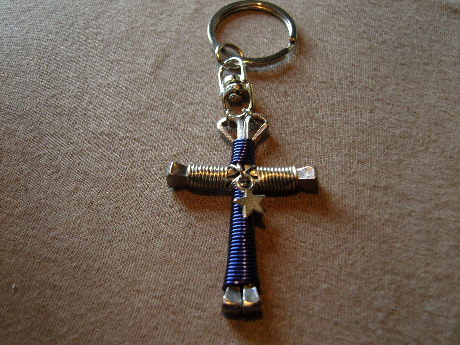 disciples cross football swivel key chains