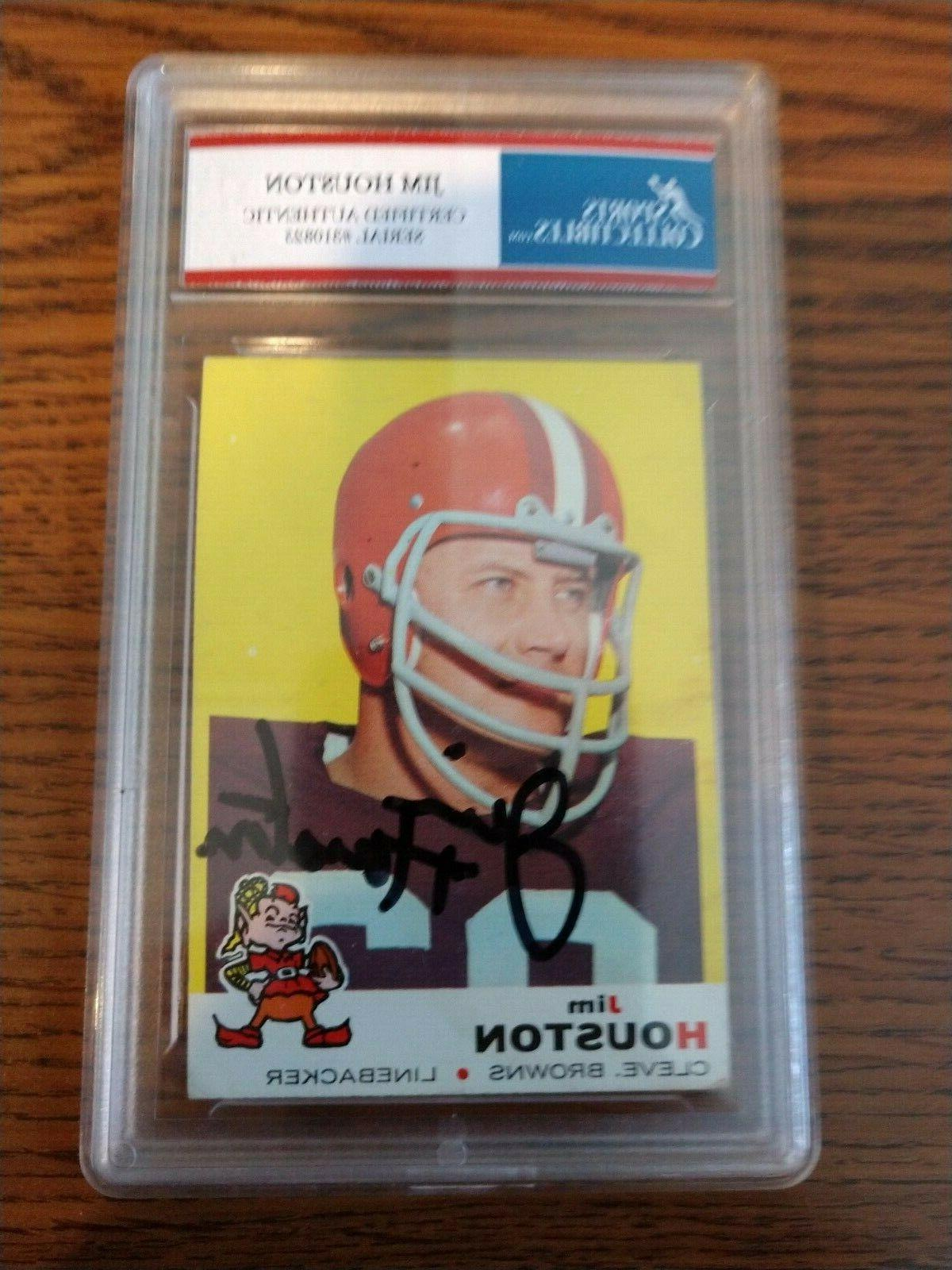jim houston cleveland browns 1969 topps autographed