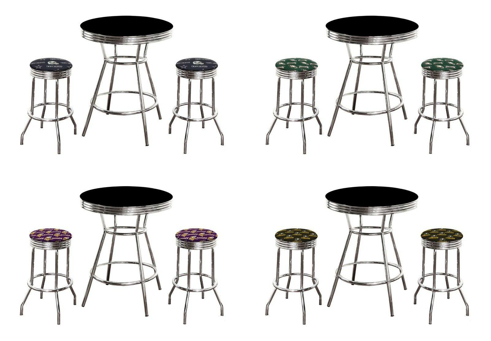 nfl black chrome pub table set w