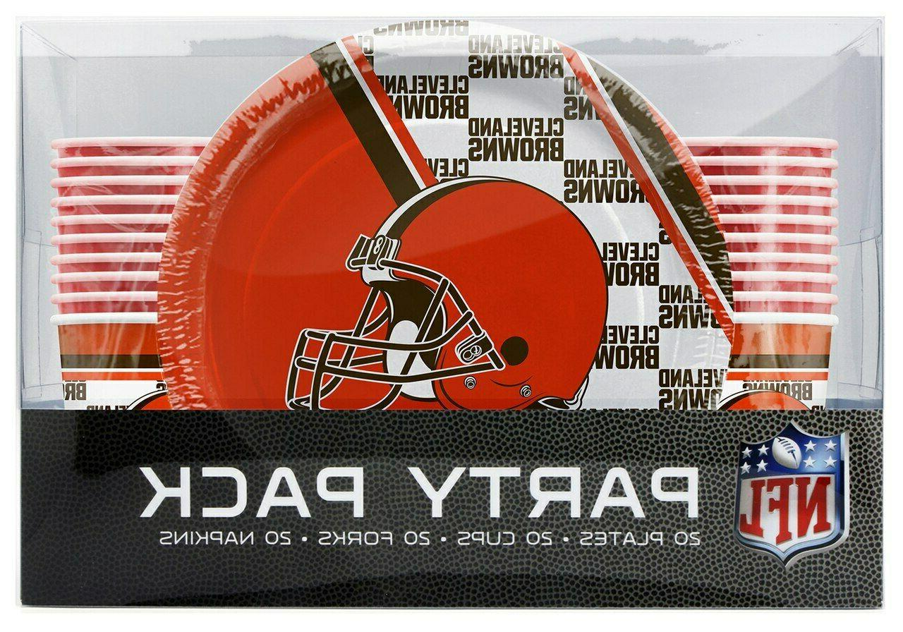 nfl cleveland browns disposable 80 piece party