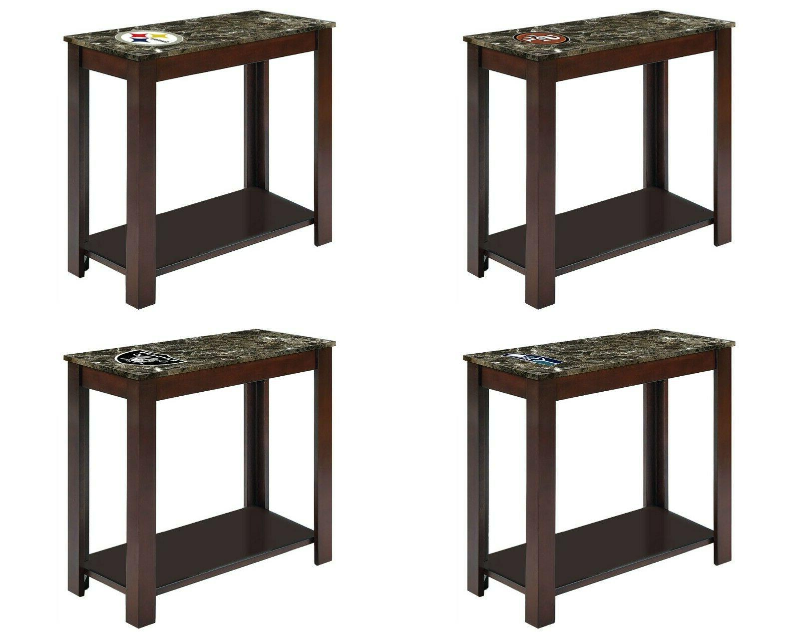 nfl end night table cappuccino finish wood