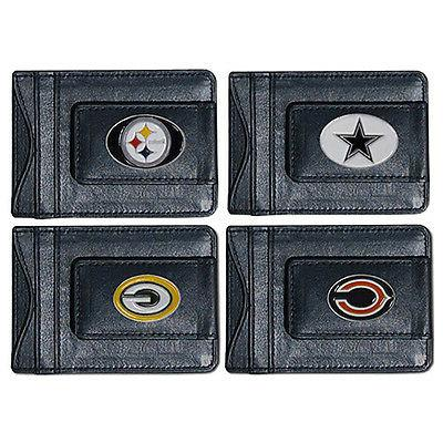 nfl football leather money clip wallet pick