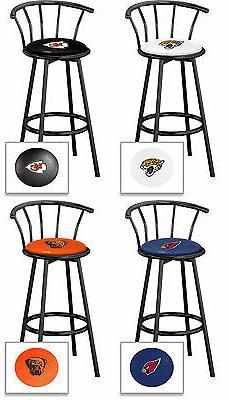 """Bar Stool w/ Back 29"""" Tall NFL Sports Team Logo Black Metal"""